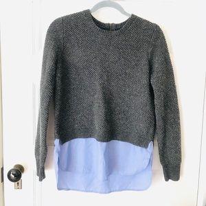 J. Crew Grey & Blue Wool Shirttail Sweater